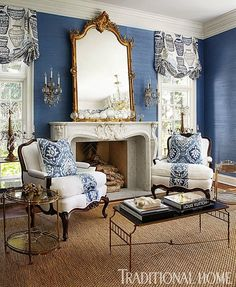 Blue white South Shore Decorating Blog: The Bluest of Blue Rooms (40 Fabulous Blues in Every Hue)