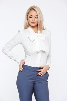 Fofy office white cotton women`s shirt without buttons, women`s shirt, tented cut, long sleeves, thin fabric, elastic cotton