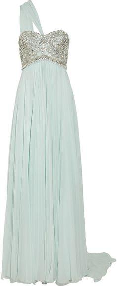 Marchesa Embellished Silk Chiffon Gown in Blue (mint)