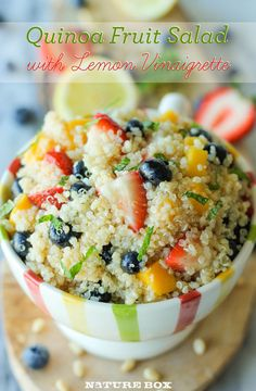 Quinoa is brightened up with fresh fruit and lemony vinaigrette! (omit sugar, use Stevia to sweeten for THM) Recipe serves 4. (E)