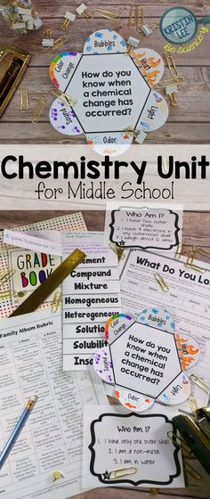 This middle school chemistry unit cover tons of topics from chemical reactions to mixture & solutions to conservation of energy. Includes activities, lesson plans, rubrics, teaching tips, & more! From Kristin Lee
