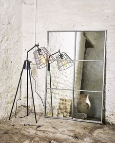 Window Pane Wall Mirror with Antiqued Silver Metal Frame, 6 Pane Mirror With Hooks, Metal Mirror, Wall Mirror, Mirror Above Fireplace, Window Pane Mirror, Industrial Mirrors, Industrial Style, Crittall, Interior Design Advice