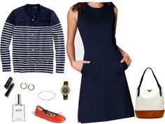 """Navy Ponte Sheath"" by summitsp ❤ liked on Polyvore"