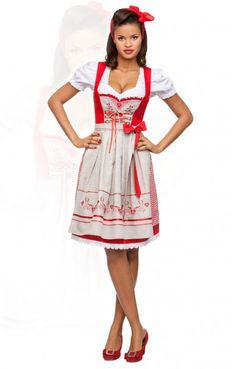 Oktoberfest mid length dirndl 2pcs. Leonie red 60 cm