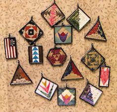 paper pieced quilt pendants