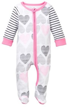 0501eaf1a8209 Boppy Happy Girl Heart Print Zip Front Sleep   Play Footie (Baby Girls)