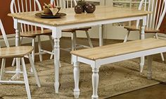 Coaster Butcher Block Table in Natural / White