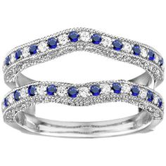 Vintage Contour Genuine Sapphire Ring Guard Enhancer -  Sterling Silver Ring Guard Solitaire Enhancer with Diamonds