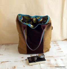large bag for women in brown petrol green mustard by enjoyquality, €67.00
