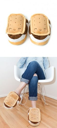 S'mores slippers with USB cords that connect to your devices.