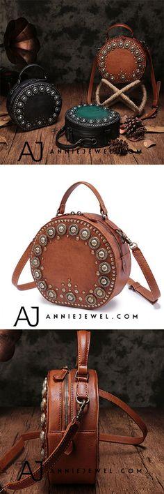 GENUINE LEATHER HANDBAG BOHO RIVET CIRCLE ROUND SHOULDER BAG CROSSBODY BAG PURSE CLUTCH FOR WOMEN