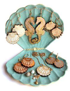 siren collection by ROSITA BONITA. Pastel Leather seashells & seahorses…