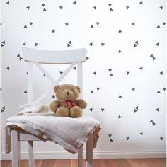 Scandinavian nursery stencils triangle wall pattern minimalist nursery http://www.cuttingedgestencils.com/triangle-confetti-stencil-scandinavian-decal-nursery-stencils.html