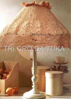 """Rosy Glow"" lampshade  with diagram, filet work                                                                                                                                                                                 Mais"