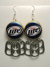Miller Lite Beer Bottle Cap Earrings Rockabilly Redneck Rebel Biker Pinup Girl