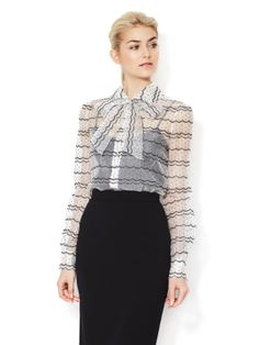 Silk Organza Embroidered Blouse by Valentino