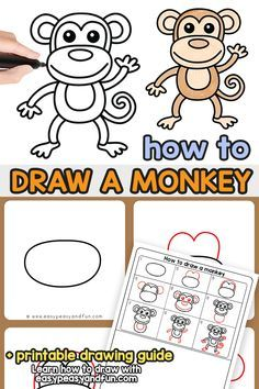 How to Draw a Monkey – Step by Step Drawing Guide - Easy Peasy and Fun Jungle Drawing, Sheep Drawing, Drawing Art, Drawing Lessons, Art Lessons, Drawing Guide, Monkey Drawing Easy, Easy Drawing For Kids, Monkey Art Projects