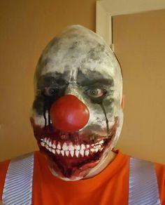 Latex clown mask acrylic paints Clown Mask, Latex, Sculptures, Halloween Face Makeup, Make Up, Costumes, Painting, Dress Up Clothes, Fancy Dress