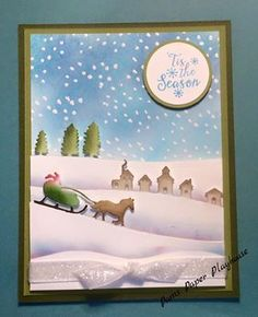 Stampin' Up! Sleigh Ride Edgelits Dies, Peaceful Pines, White Glitter Ribbon