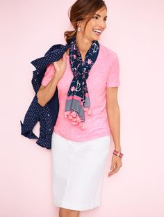 Anchored in nautical style, this sailing-themed scarf is as fashionable on surf as it is on turf. It's a perfect pop to a solid color top. Or top off a printed tee for an on-trend statement. | Talbots