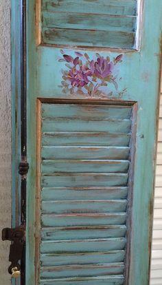 Handpainted wooden shutter ,shabby chic style