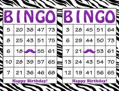 60 Purple Zebra Mustache Birthday Printable Bingo Cards - Instant Download - Birthday Party Game for Girls - BD005