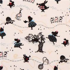 white Kokka Alice in Wonderland fairy tale fabric tea from Japan