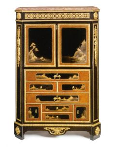 A rare Louis XVI ormolu-mounted ebony and japanese black and gilt lacquer secrétaire à abattant. Circa 1780, stamped twice M Carlin JME. 494,500 USD (2011)