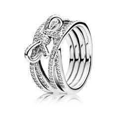 5e25cfa2c Brede ring met strik - 190995CZ Blauwe Topaas Ring, Pandora Ringen, Pandora  Sieraden,