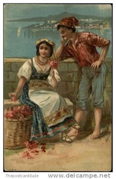 SPAIN Spanish Man and Woman GYPSY c1910 Embossed Postcard