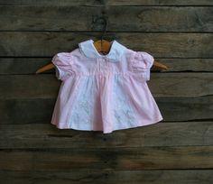 Vintage Children's Pink & White Floral Short Sleeve Dress
