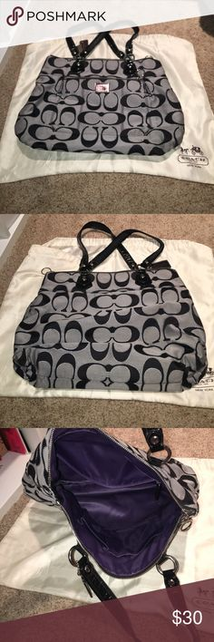 Large Coach Purse Large Coach purse in signature pattern- only used a couple of times. Dust bag included Coach Bags Totes