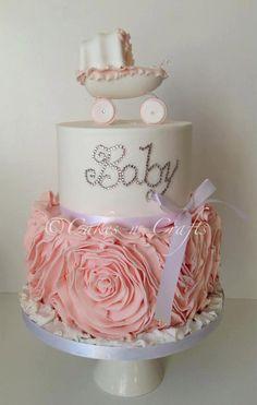 Swarovski Crystals on Pink & White Christening Cake