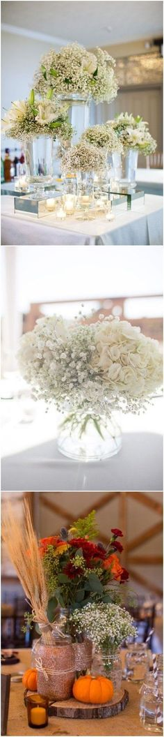 20 Rustic Baby's Breath Wedding Centerpiece Decorations Ideas #weddings #weddingcenterpieces #weddingdecorations #weddingideas