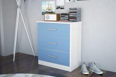 CANNES 3 DRAWER BEDSIDE, WHITE & BLUE
