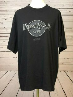 36f2a24a7 Hard Rock Cafe Rome Italy T-Shirt Tee Black Short sleeve Mens Vintage Large  L