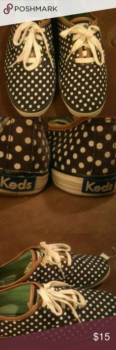 Keds sneakers Cute keds canvas sneakers brown with cream polka dots teal insides and brown trim Keds Shoes Sneakers