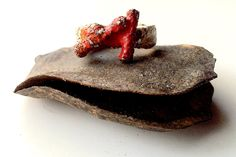 Nature Twig Branch Statement Ring Silver Ring Red and Orange Glass Enamel Copper by NaturefyingJewelry on Etsy