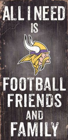 "Minnesota Vikings Wood Sign - Football Friends and Family - 6""""x12"""" Z157-7846008930"