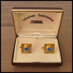 CREATIVE METALS Vintage NOS Gold Cufflinks Pearl Stones In Original Box