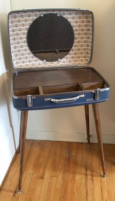 Mid Century Modern Inspired Custom Suitcase Vanity by ModernMutations on Etsy