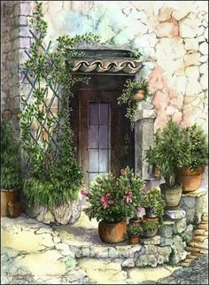 Doors and Windows of Tuscany: watercolor paintings and prints Watercolour Painting, Painting & Drawing, Watercolors, Pinterest Arte, Pictures To Paint, Beautiful Paintings, Painting Techniques, Painting Inspiration, Colored Pencils