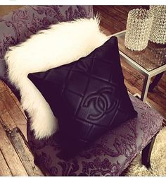 Leather Chanel Pillow by DesignerCClassics on Etsy, $125.00