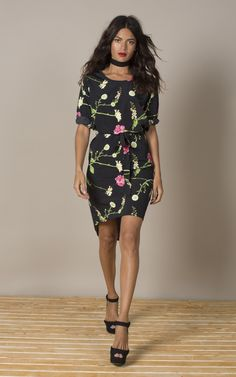 Chiquita Dress In Carnation And Daisy - SilkFred