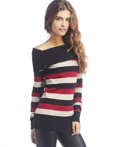 "<p>Cozy up in stripes and chic style with this long-sleeve soft knit sweater lined with wide stripes in three different colors, a form-fitting design and ribbed, draped Marilyn neck with button details at each front side. Ribbing is also included in a wide section at the hem and at the cuffs. Sweater has stretch in the fabric and is unlined.</p>  <p>Model is 5'9"" and wears a size medium.</p>  <ul> 	<li>52% Cotton / 28% Rayon / 20% Polyester</li> 	<li>Machine ..."