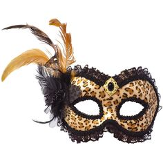 Golden Leopard Print Mask with Feathers