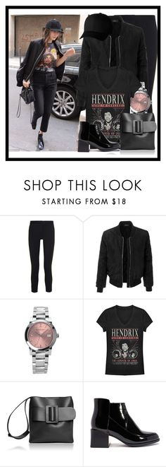 """""""62."""" by treehillstudent ❤ liked on Polyvore featuring Versace, LE3NO, Burberry, Fifth Sun, Boyy and Flexfit"""