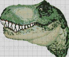 Dinosaur Cross Stitch Pattern, T-Rex Cross Stitch, Cross Stitch Pattern, Colors 10, 149x134 St, Digital, Instant Download #15-05