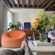 orange cushion arm chair decor // plants decor ideas // Bed Aesthetic, Aesthetic Room Decor, Appartement Design, Beautiful Living Rooms, My New Room, House Rooms, Home Interior Design, Danish Interior, Room Inspiration