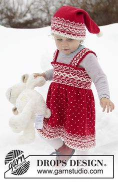 Ravelry: Miss Cookie pattern by DROPS design Girls Knitted Dress, Knit Dress, Drops Design, Free Knitting, Baby Knitting, Preppy Baby Boy, Magazine Drops, Fair Isle Knitting Patterns, Girl Decor